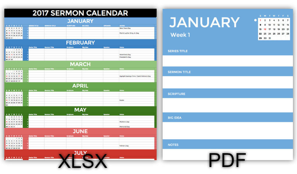 2017 Sermon Calendar Screenshot